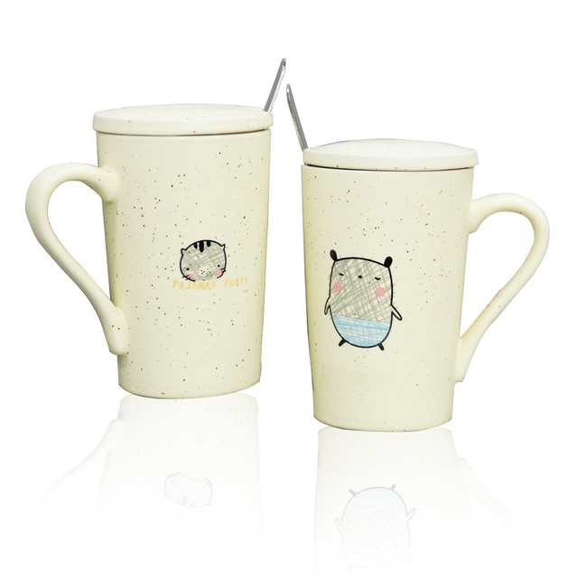 Kid Children Funny Gift Travel Cat Ceramic Coffee Milk Drinking Mug with Wooden Handle Spoon