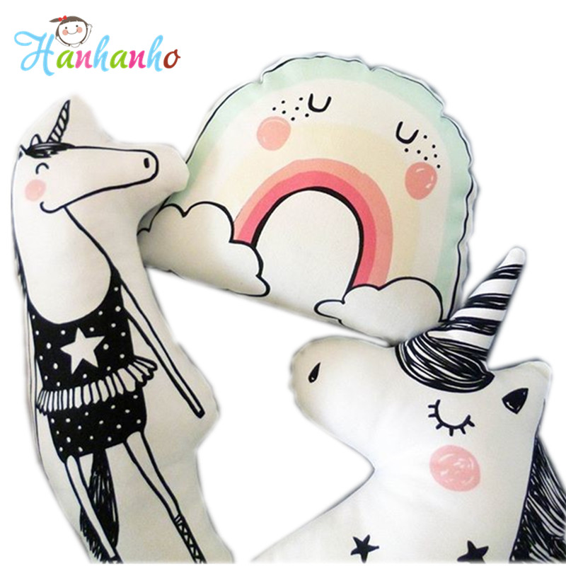 INS Hot Cartoon Rainbow Cloud Baby Cotton Pillow Unicorn Doll Cushion Kids Toy Creative Birthday Gift ins hot swan soft toy cute ballerina moon cushion pink home sofa decoration pillow baby appease music doll kidstoy gift for girl