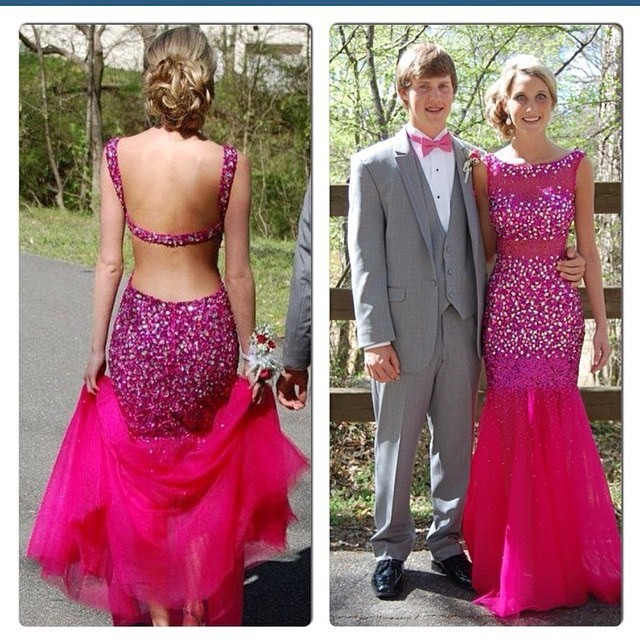 Out Back Beaded Prom Dresses 2015