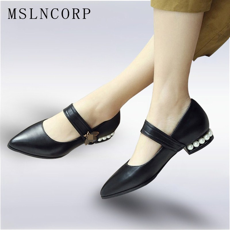 Plus Size New 34-43 Fashion Ankle Strap Women Flats Shoes Pearls Heels Soft Leather Pointed Toe Mary Janes Casual Shoes Woman meotina women flat shoes ankle strap flats pointed toe ballet shoes two piece ladies flats beading causal shoes beige size 34 43