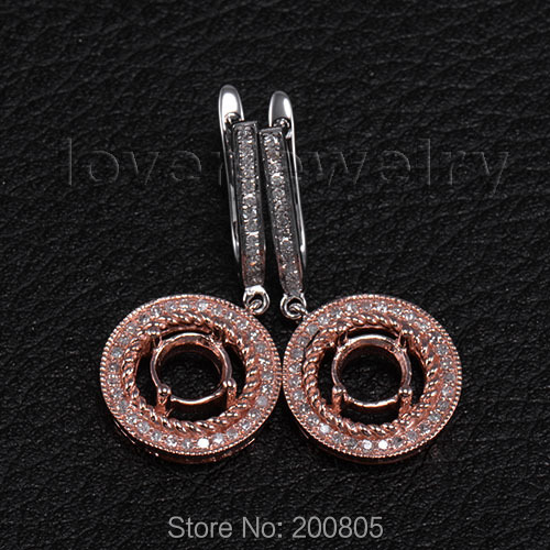 Vintage 0.62Ct Diamond Semi-Mount Earrings Round 6mm 14Kt Two Tone Gold,Setting Ring For Sale цены