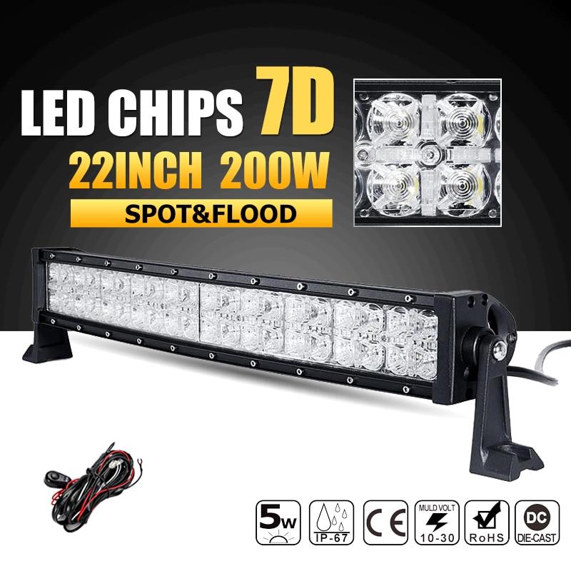 Oslamp 7D Curved 22inch 200W LED Light Bar Combo Beam Led Work Light Driving Lamp 12v 24v ATV Truck SUV 4x4 4WD Offroad Led Bar