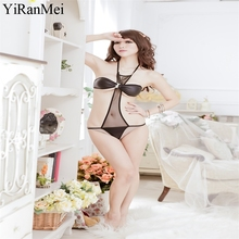 YiRanMei Black Sexy Bodysuit Lace Erotic  Transparent Lingerie Sets Womens Bodystocking Temptation Underwear