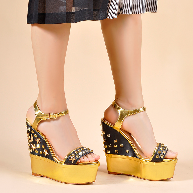 766f11238 Cunhas Para Novas Plataforma Femininos Salto Geométrica Metal gold Mulheres  Black Rosa Alto 2019 As Sapatos Mãos Sandálias Das De Palmas QdCoWEBerx