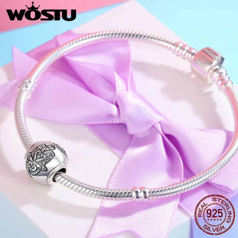 WOSTU Authentic 925 Sterling Silver Hamsa Hand of Fatima Lucky Beads fit original Charm Bracelet DIY Jewelry Gift CQC306