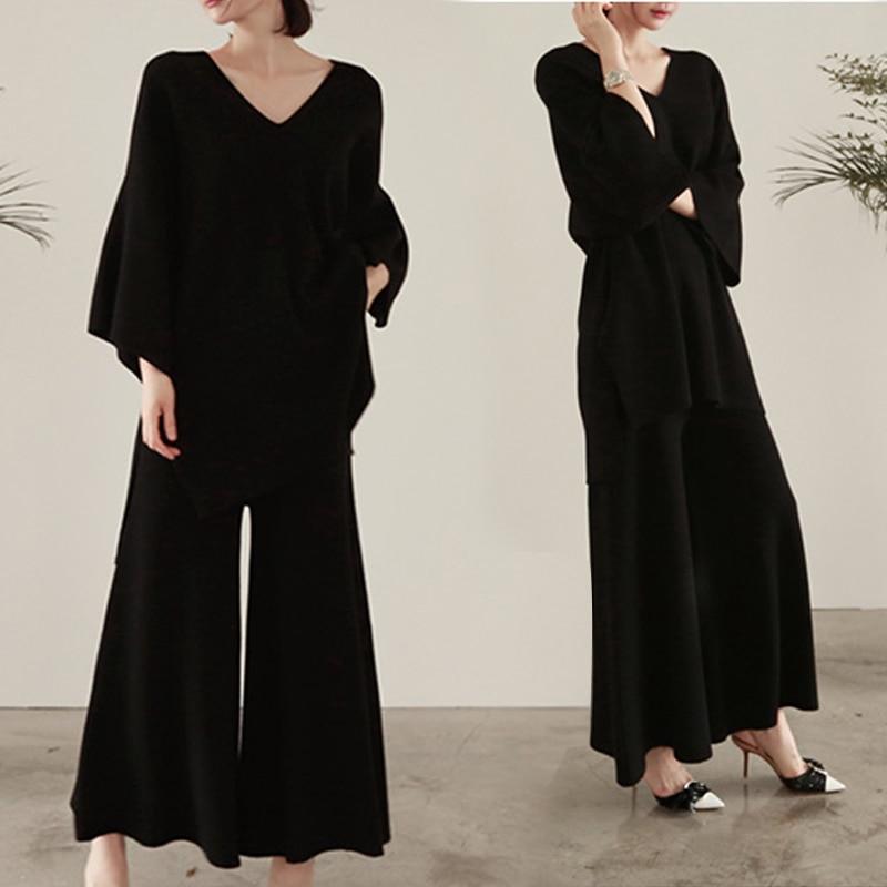 Haute Femmes Top Plus Khaki Tricoté amp; Pull Taille Tailleur Tricot Deux Jambe ever Pièces black Large Femme Pantalon pantalon Ensemble Costume 39 Yd S qvx7aA4wn