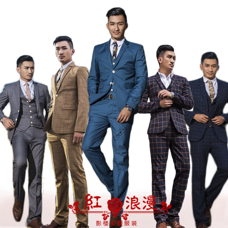 (jakcet+vest+pants)new pattern three piece suit Studio shot prom wedding office business party dress show for Office groom slim