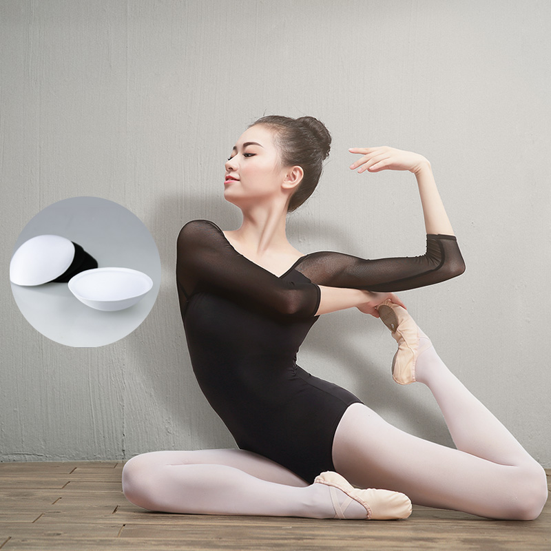 Women Black Mesh Dance Leotards Three Quarter Sleeve Ballet Leotards Adult Ballet Practice Dance Costume Gymnastics Leotards