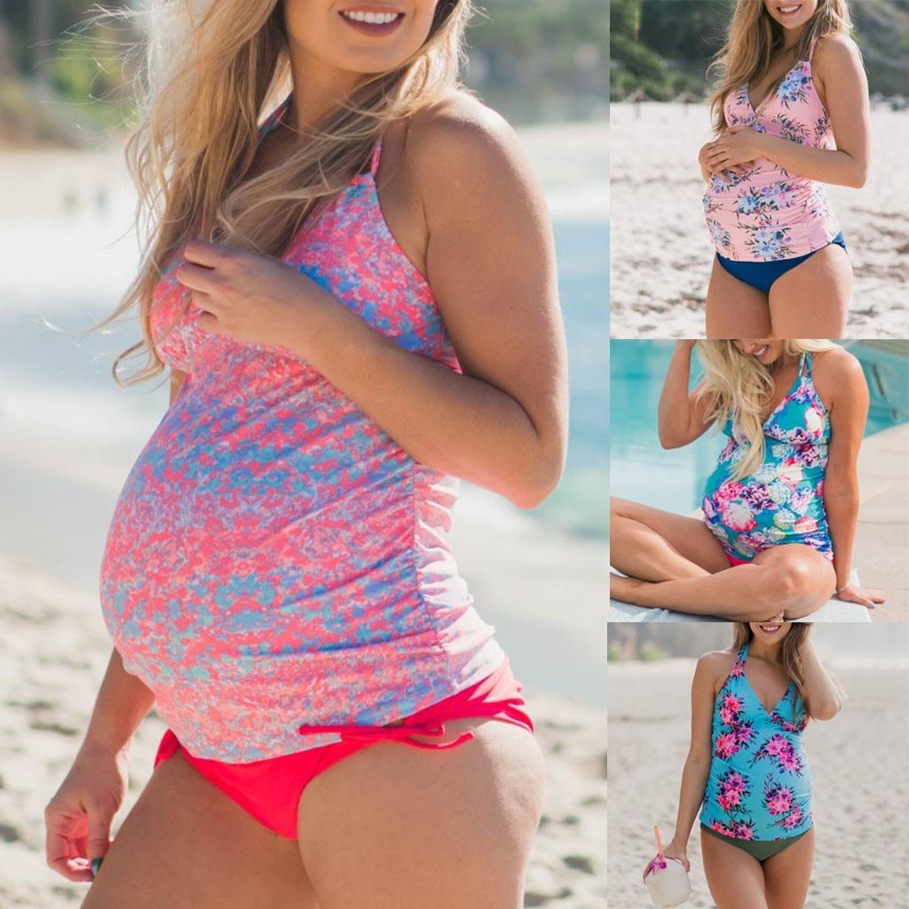 Mother & Kids Maternity One Pieces Romirus Maternity Tankini Women Solid Strappy Swimsuit Bikinis Halter Pregnant Maternity Swimwear Pregnant