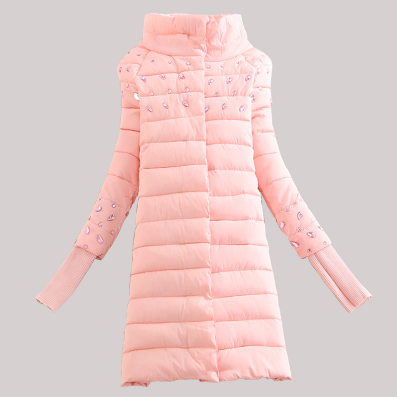 ФОТО 2016 stand collar winter wadded jacket medium-long down cotton-padded jacket women's slim all-match cotton-padded jacket