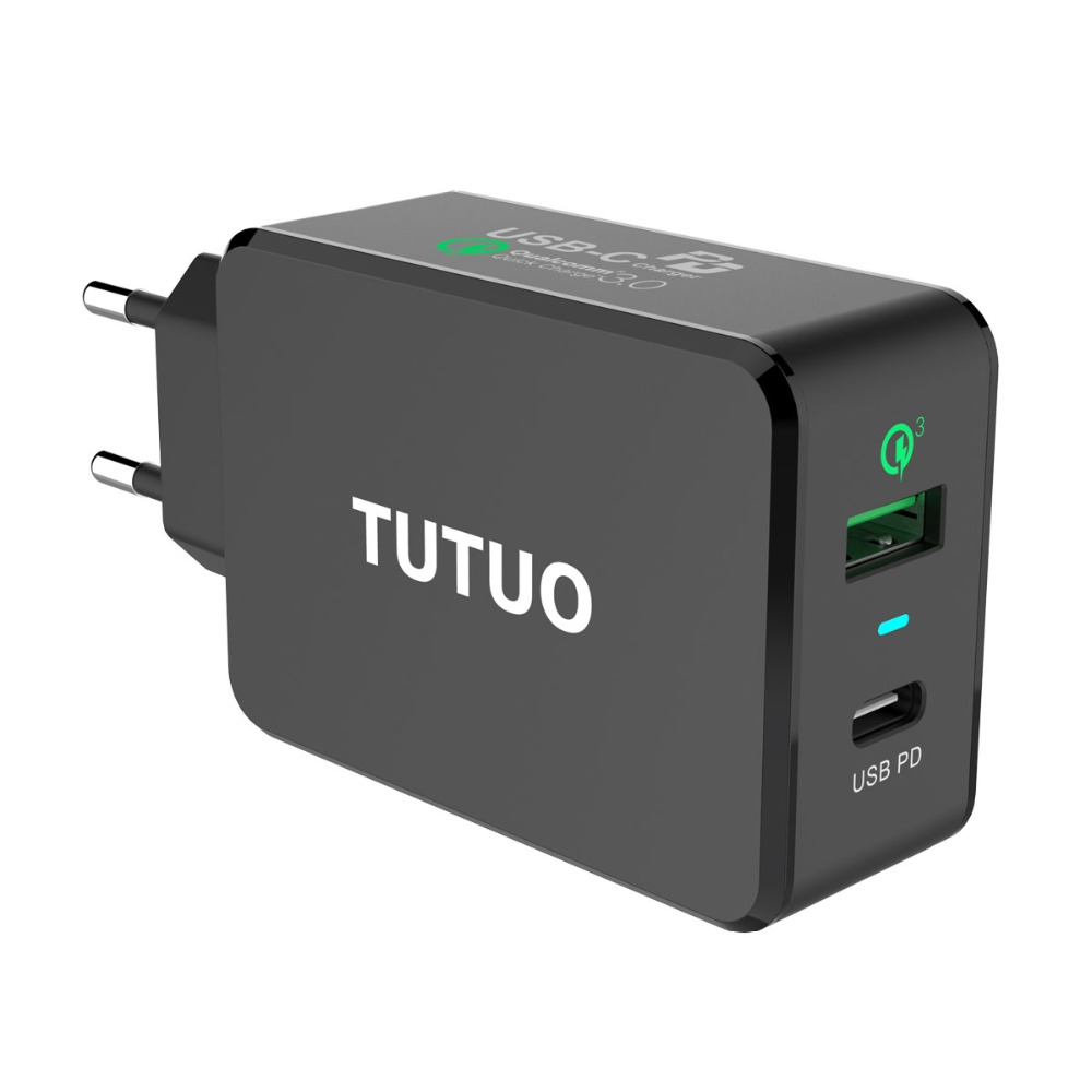 TUTUO USB C PD Wall Charger (Power Delivery) Type C+Quick Charge 3.0 Fast Power Adapter for iPhone 8/X /8 Plus Galaxy S8 S9 Plus