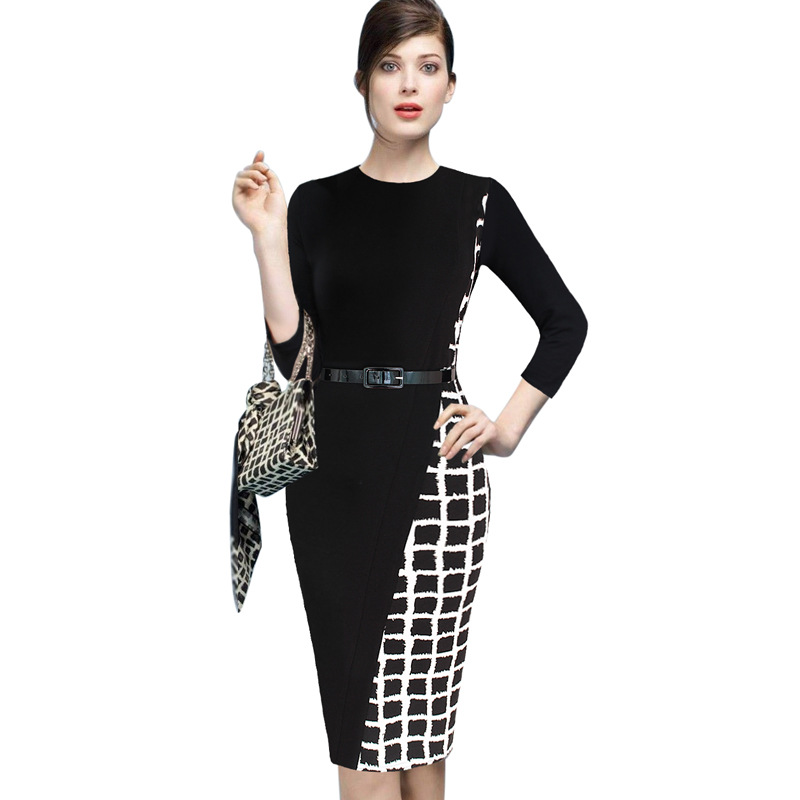 Elastic Women Model Day Dresses Long Sleeves Womens Elegant Asymmetric Check Plaid Belted Wear to Work Pencil Dress