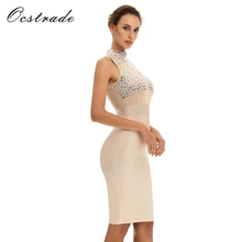 Summer Dress 2017 Club Party Dresses New Arrival Women's Nude Red Black Beaded Bodycon Dress 2017 Sexy Bandage Mesh Dress