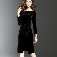 b61bfca95a8 Женское зеленое бархатное платье плюс размер элегантное осень-зима для  похудения модное Повседневное платье праздничное