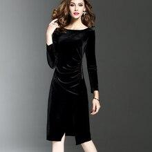 Для женщин зеленый бархат платья Плюс Размеры элегантный осень-зима для похудения Модные Повседневные платья Платье для вечеринки Femininos