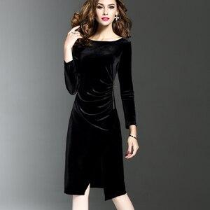 Image 1 - 여자 그린 벨벳 드레스 플러스 사이즈 우아한 가을 겨울 슬리밍 패션 캐주얼 드레스 파티 드레스 vestidos femininos
