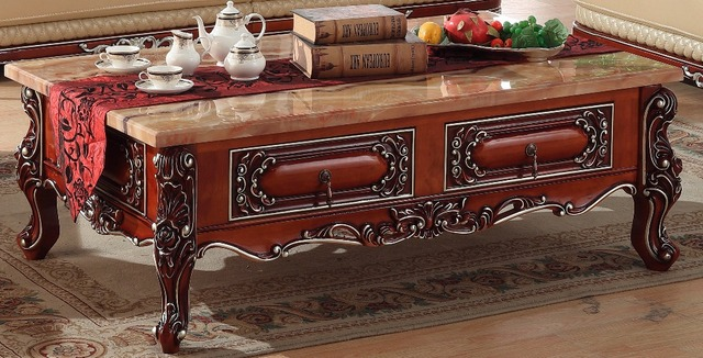Engrave Retro Wooden Coffee Table Storage Drawer Marble Top Made In China