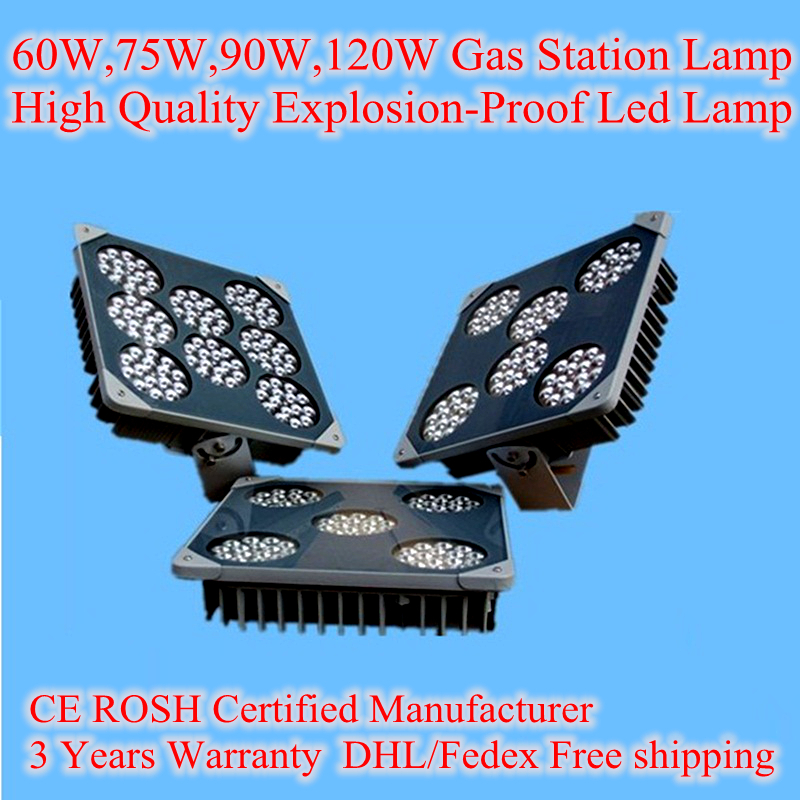 Explosion Proof Led gas station Lamp 60W 75W 90W 120W AC 85-265V IP68 Outdoor Lights Tunnel Lights High Brightness Cree Chip цены