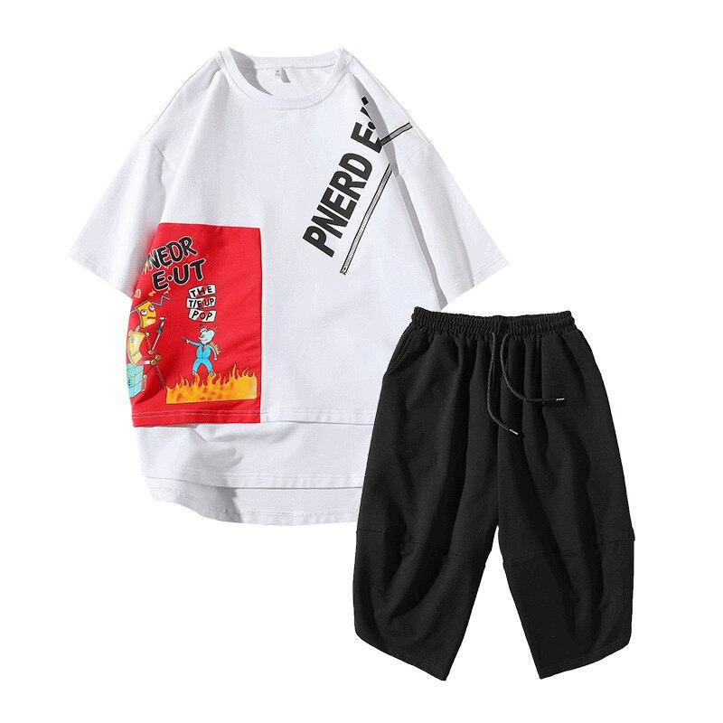 Rlyaeiz High Quality 2019 Summer Men Tracksuit Set Fashion Printed T Shirts + Calf-length Pants Sporting Suit Male Sporting Wear