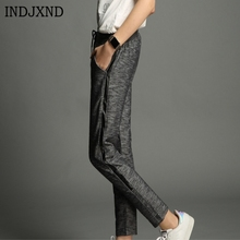 ФОТО indjxnd vogue casual knitting drawstring trousers home travel leisure women sides striped harem pants loose workout sweatpants