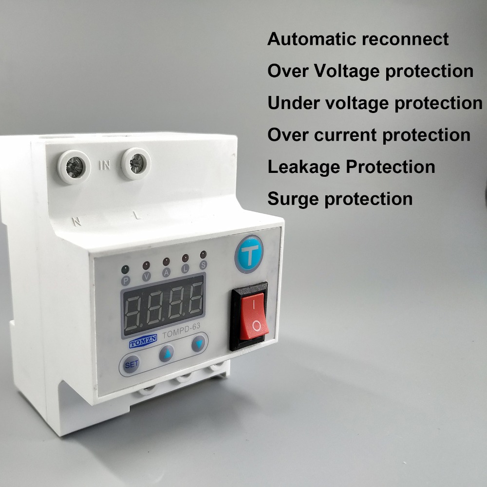 63A Automatic reconnect circuit breaker with over and under voltage over current Leakage protection surge protect relay63A Automatic reconnect circuit breaker with over and under voltage over current Leakage protection surge protect relay