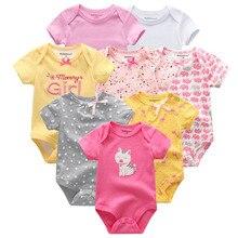 8 ピース/ロット半袖ベビーロンパース綿 100% のオーバーオール新生児服roupasデベベ少年少女ジャンプスーツ & 服