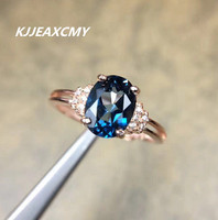 KJJEAXCMY Natural Swiss Blue Topaz Ring Nvjie S925 Sterling Silver Diamond Crystal Stones