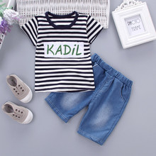 Toddler Kid Baby Boys Girls Outfits Clothes Stripe T-shirt Tops+Shorts Pants Set