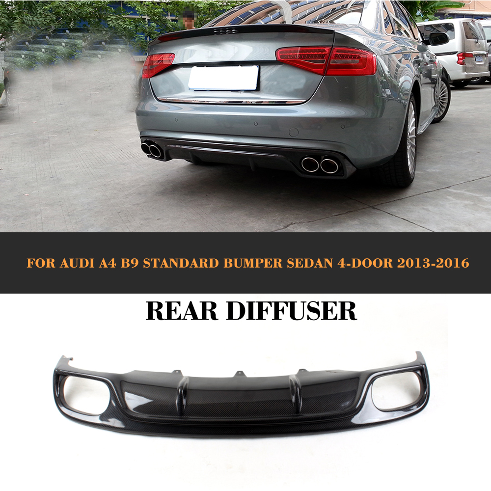 Carbon Fiber Rear Bumper Diffuser Lip Spoiler With Splitters Exhaust for Audi A4 B9 Standard Sedan 13-16 Non Sline Grey FRP