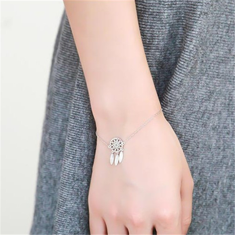 Special store Feather Shape Pendant Love 925 sterling silver Bracelet jewelry ...