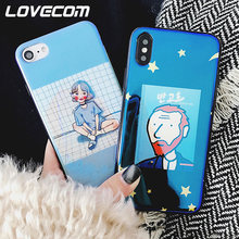 LOVECOM Blu-Ray Phone Case For iPhone 6 6S 7 8 Plus X Cool Cartoon Korean Style Inset Uncle & Girls Soft IMD Phone Back Cover(China)