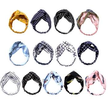 Bowknot Shaped Floral Stripe Pattern Headband Headwrap Fashion Facinator Headwear Jewelry 1