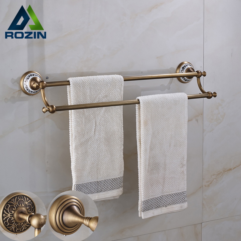 Antique Brass European Style Wall Mounted Towel Holder Bathroom Accessories Double Towel Bar aluminum wall mounted square antique brass bath towel rack active bathroom towel holder double towel shelf bathroom accessories