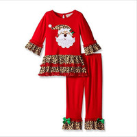 European and American children's clothes one hair 2018 Christmas outfit girl pure cotton Santa Claus head coat leopard edge pant