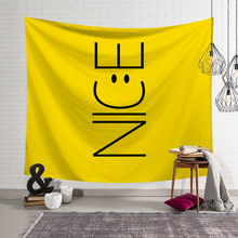 Nordic Ins Hanging Art Wall Tapestry Smiley face Printed Wall Hanging Tapestry Bohemia Polyester Home Bedroom Decoration happy easter letters printed tapestry wall art