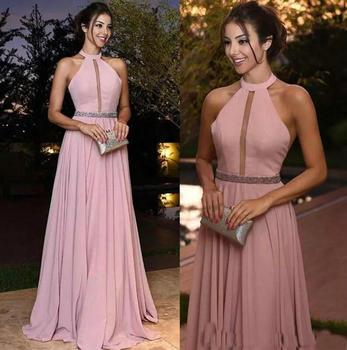 d53ef35b1 Rosa vestidos de dama de honor para boda fiesta Chiffon una línea vestido  de mujer elegante Celebrity Prom vestidos para Año Nuevo eve