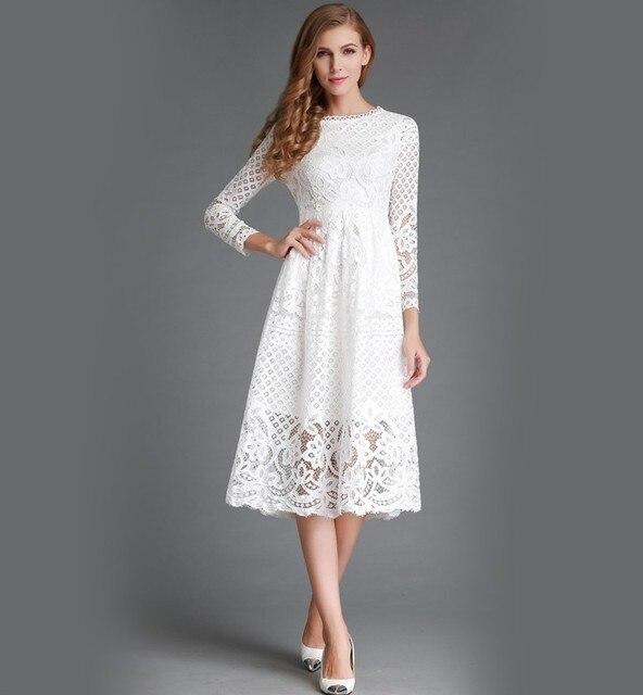 db9d74687604f Women spring dress long sleeve long summer lace white dress black dresses  vestidos mujer