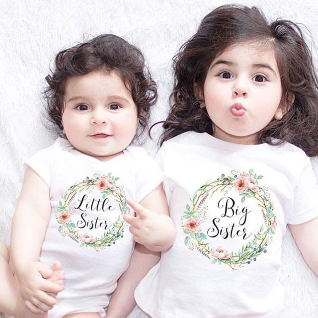 a87c0f39b Kids T shirt Big Sister Little Sister Girls Clothes Flower Baby Bodysuit  Sisters Clothing Short Sleeve Family Matching Outfits
