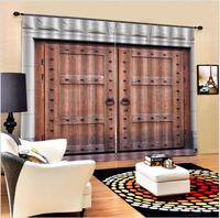 3d blackout curtain Vintage Chinese style stone wall wooden door silk printed fabric personality curtains home decoration
