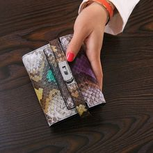 2016 Multicolour Lady Women Genuine Leather Cowhide Bag Serpentine Short Wallet Card Money Holder Clutch Purse Fashion Wallets