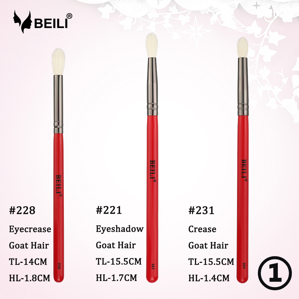 BEILI Amber 3PCS Professional Eye Makeup Brushes Set Eyeshadow Brush Cosmetics Eyeshader Eyebrow Eyeliner Natural Hair Make Up цена