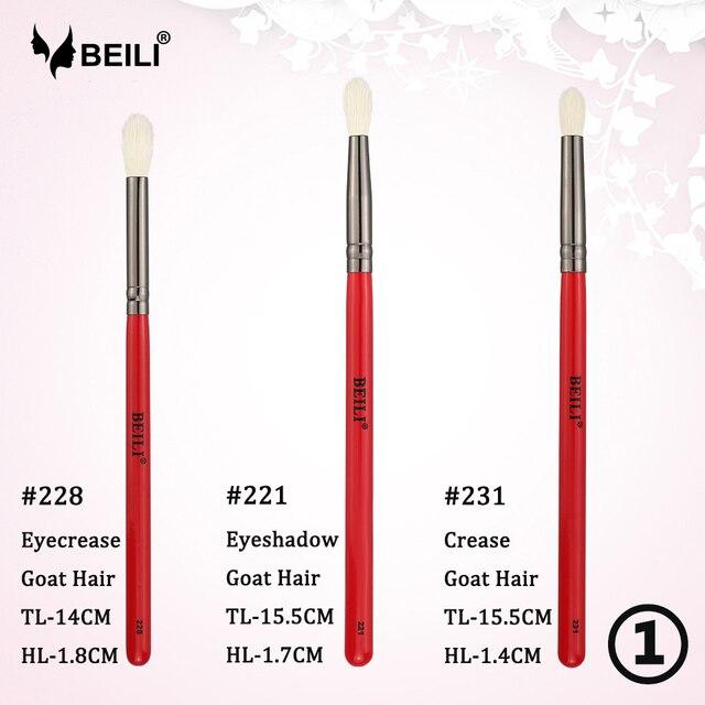 Conjunto de brochas de maquillaje de ojos profesionales de 3 piezas de ámbar de BEILI, brochas para sombra de ojos, brochas para cosméticos, delineador de ojos, maquillaje de cabello Natural