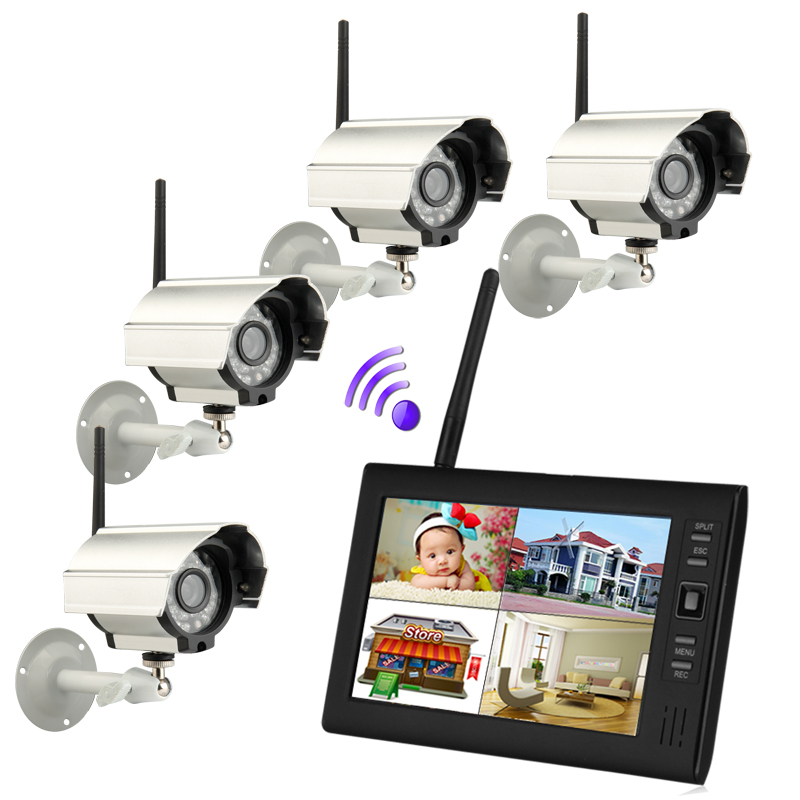 "9/"" LCD Wireless Baby Monitor 4 Channel Quad Security System DVR With 2 Cameras"