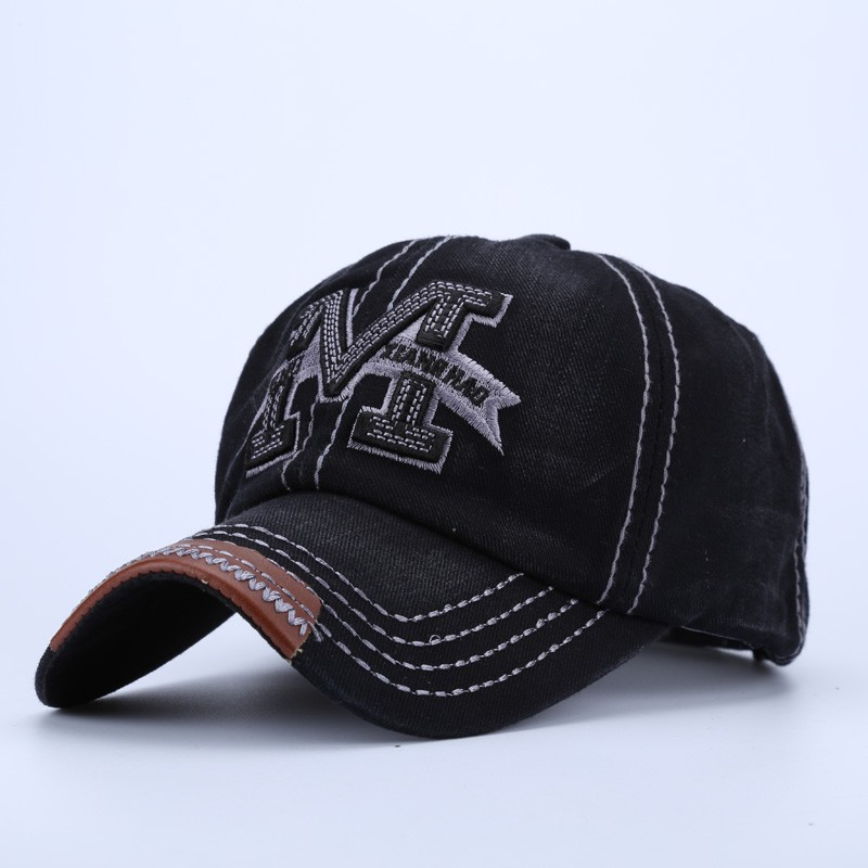 """Embroidered Letter """"M"""" Dad Hat - Black Cap Front Angle View"""