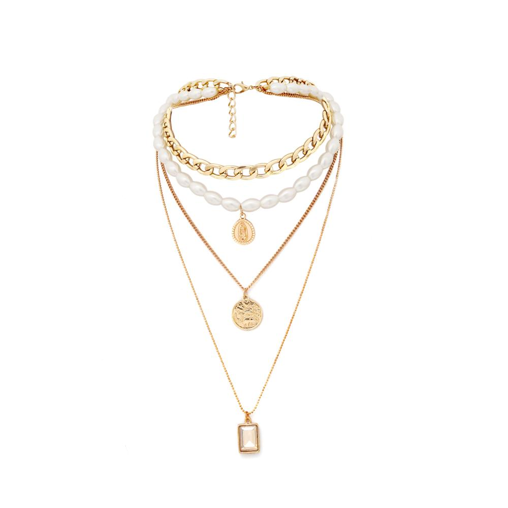 IngeSight.Z Punk Multi Layered Pearl Choker Necklace Collar Statement Virgin Mary Coin Crystal Pendant Necklace Women Jewelry 2