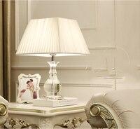 Светодиодная настольная лампа Блеск современные настольные лампы для Гостиная Спальня Свет Кристалл Настольная лампа Ткань абажура домаш