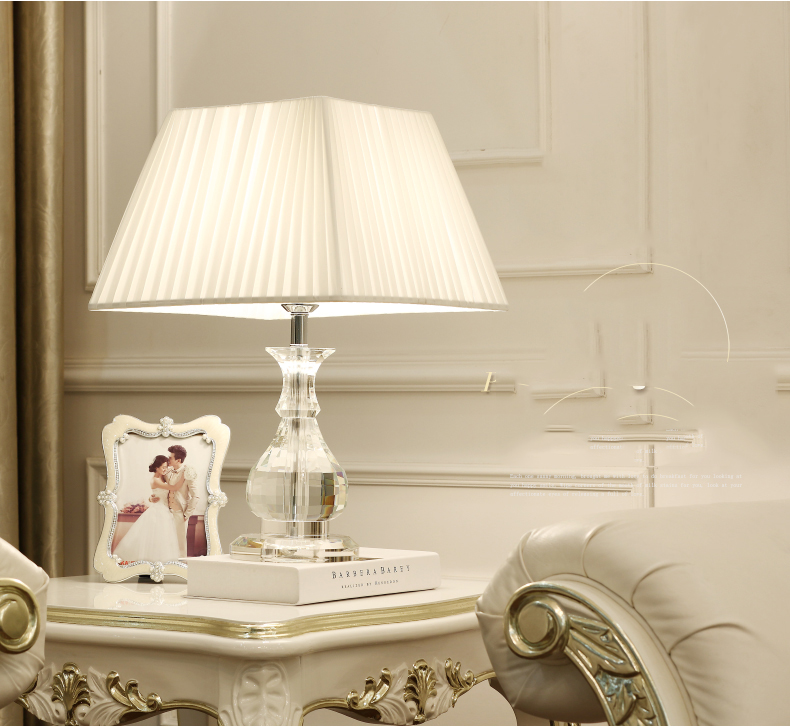 Led Table lamp Lustre Modern Table Lamps For Living Room Bedroom Light Crystal Desk Lamp Fabric Lampshade Home Lighting abajour fumat feather table lamps modern crystal table lamp for living room bedroom beside light fashion study feather desk lamp
