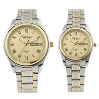 Luxury Brand Women Men Lovers Watch Strip Alloy Couple Gold Plated Gold Roman Watch Orologi Coppia
