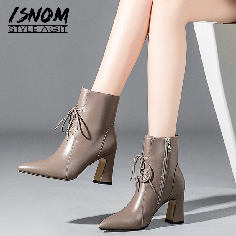 ISNOM Thick High Heels Women Ankle Boots Pointed Toe Footwear Cow Leather Office Female Boots Lace