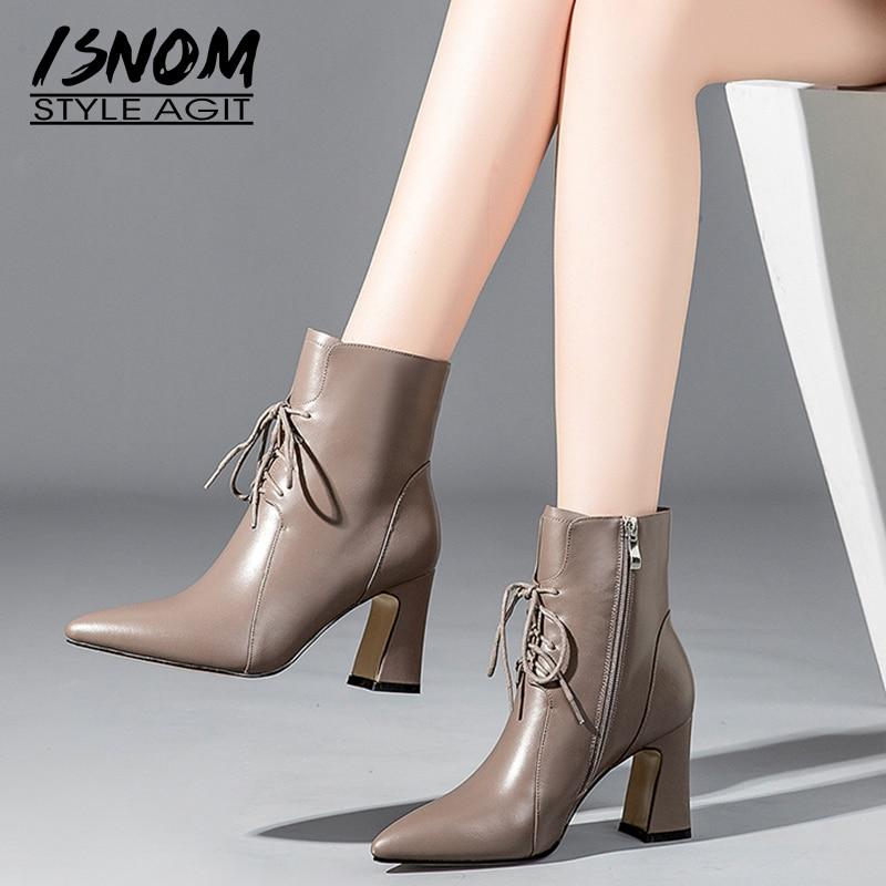 ISNOM grube szpilki kobiety botki Pointed Toe obuwie skóra bydlęca biuro kobiet buty wiązane buty kobieta zima 2018 w Buty do kostki od Buty na  Grupa 1
